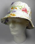 PU Wholesale Blank Bucket Hats - Alligator Pattern - White Flowers
