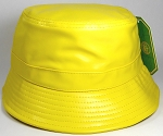 Wholesale Blank Faux Leather Bucket Caps Yellow