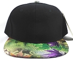 Wholesale Blank Caps Hats Green / Purple  Leaves - Black Crown