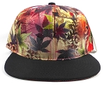 Wholesale Plain Caps Hats Red / Gray Leaves - Black Brim