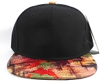 Wholesale Blank Caps Hats Red / Gray  Leaves - Black Crown