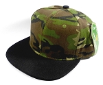 Wholesale Blank Snapback Hats Caps Camo | Black