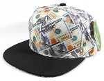 Wholesale Blank Dollar Bill Snapbacks Hats | Dollar / Black