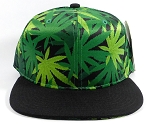 Wholesale Plain Snapback Caps Hats - Cannabis Print | Black Brim