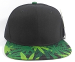 Wholesale Plain Snapback Caps Hats - Cannabis Print | Black Crown