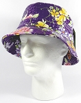PU Wholesale Blank Bucket Hats - Alligator Pattern - Purple Flowers