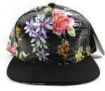 Wholesale Plain Floral Snapbacks Caps | Gator Skin | Black | Black Crown