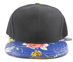 Wholesale Plain Floral Snapbacks Hat - Alligatorskin - Black | Blue