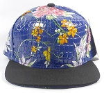 Wholesale Blank Floral Snapbacks Hats - Alligatorskin - Blue | Black