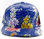Wholesale Blank Floral Snapback Hats | Alligator Skin | Solid Blue