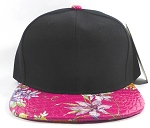 Wholesale Blank Floral Snapback Hats | Alligator Skin | Black & Hot Pink