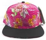 Wholesale Plain Floral Snapback Hats | Alligator Skin | Hot Pink & Black