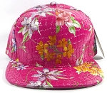 Wholesale Plain Floral Snapback Hats | Alligator Skin | Solid Hot Pink