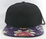 Wholesale Blank Flower Snapbacks Caps - Alligatorskin - Black | Purple