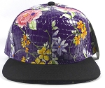 Wholesale Blank Floral Snapbacks Hats - Alligatorskin - Purple | Black