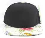 Wholesale Blank Floral Snapbacks Hats - Alligatorskin - Black | White
