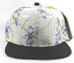 Wholesale Blank Flower Snapbacks Caps - Alligatorskin - White | Black