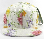 Wholesale Blank Floral Snapbacks Hats - Alligatorskin - White | Solid