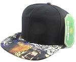 Wholesale Blank Animal Print Snapbacks Cap - Chrome Tiger | Black Crown