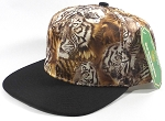 Wholesale Plain Animal Print Snapback Hats - Tigerface | Black Brim