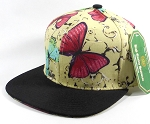 Wholesale Blank Floral Snapback Hats - Butterfly - Beige | Black