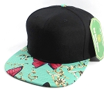 Wholesale Blank Floral Snapback Caps - Butterfly - Black | Turquoise