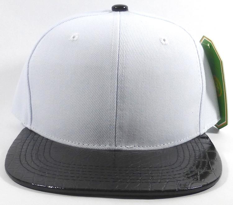 81e7709e Bulk Faux Blank Alligator Skin Snapback Hats Wholesale | White - Black