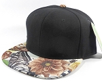 Wholesale Blank Floral Snapback Caps | Butterfly and Big Rose | Brown and Black Crown