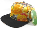 Wholesale Blank Floral Snapback Caps | Butterfly and Big Rose | Yellow and Black Brim