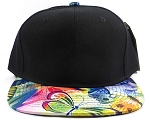 Wholesale Blank Floral Snapback Hats | Butterfly and Dragonfly | Rainbow Navy and Black Crown