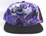 Wholesale Blank Floral Snapbacks Hat | Butterfly and Dragonfly | Purple and Black Brim