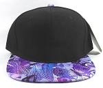 Wholesale Blank Flower Snapback Hats | Butterfly and Dragonfly | Purple and Black Crown
