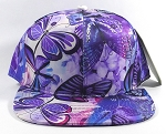 Wholesale Plain Floral Snapback Caps | Butterfly and Dragonfly | Purple
