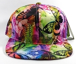 Wholesale Blank Floral Snapback Hats | Butterfly and Dragonfly | Rainbow Pink