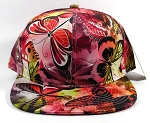 Wholesale Plain Floral Snapback Caps | Butterfly and Dragonfly | Red