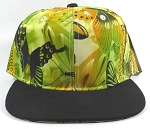 Wholesale Blank Floral Snapbacks Caps | Butterfly and Dragonfly | Lime Yellow and Black Brim