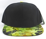 Wholesale Blank Floral Snapbacks Caps | Butterfly and Dragonfly | Lime Yellow and Black Crown