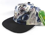 Wholesale Plain Marble Art Snapback Hats | Waterdrop Print | Navy and Black Brim