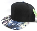 Wholesale Blank Marble Art Snapback Caps | Waterdrop Print | Navy and Black Crown