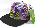 Wholesale Plain Marble Art Snapbacks Hats | Waterdrop Print | Purple and Black Brim