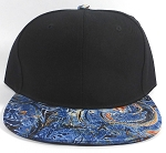 Bulk Blank Marble Art Snapbacks Caps | Liquid Stirred Print | Blue and Black Crown