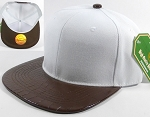 Wholesale Faux Blank Alligator Skin Snapback Caps | White - Brown
