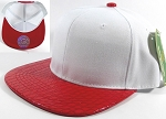 Wholesale Faux Blank Alligator Skin Snapback Hats | White - Red