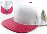 Wholesale Faux Blank Alligator Skin Snapback Hats | White - Hot Pink