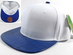 Wholesale Faux Blank Alligator Skin Snapback Hat | White - Blue