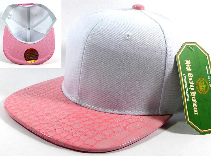 125ddeb2 Wholesale Faux Blank Alligator Skin Snapback Hat | White - Light Pink