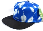 Wholesale Plain Snapbacks Hats | Feathers Blue - Black Brim