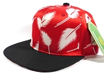 Wholesale Blank Snapback Caps | Feathers Red - Black bill
