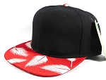 Wholesale Blank Snapback Caps | Feathers Red - Black Top