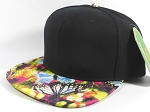 Wholesale Blank Floral Snapbacks Hat | Butterflies on Little Flowers - Black Top
